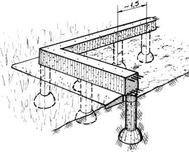 Свайно-ростверковый фундамент с расширением свай (якорем)